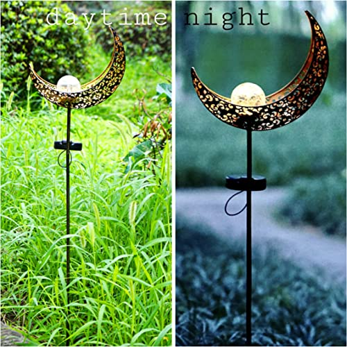 Garden Solar Stake Lights 2 Pack Moon Crackle Glass Globe Solar Stake Landscape Lamps Antique Metal Waterproof Decorative Light for Outdoor Pathway Lawn Patio Yard Warm White