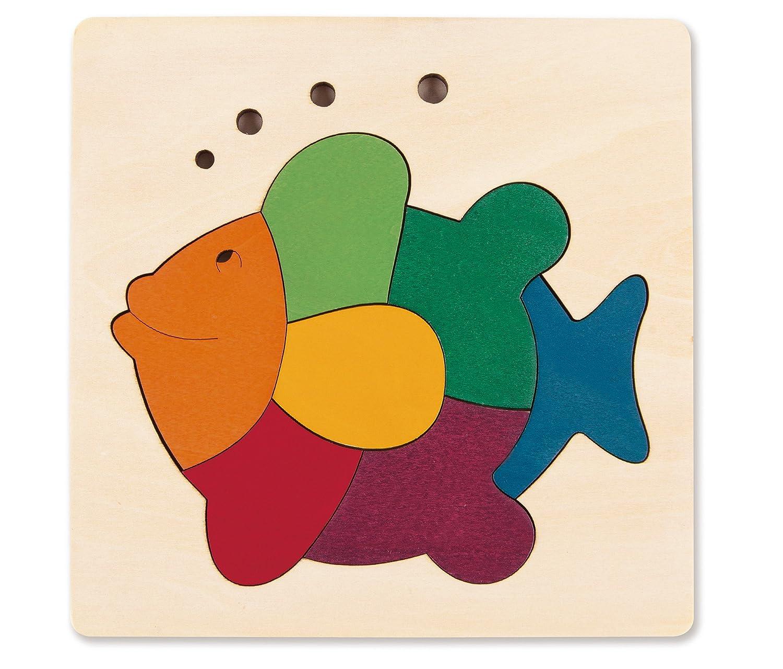 Hape George Luck Rainbow Fish Wood Puzzle 8 Piece