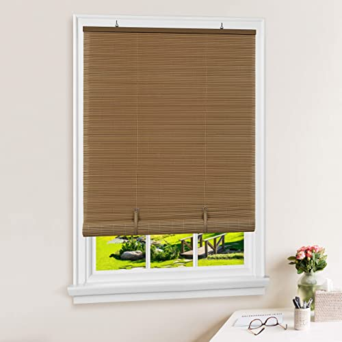 Achim Home Furnishings Vinyl Roll-Up Blind Cordless Solstice, 60 x 72 , Woodtone