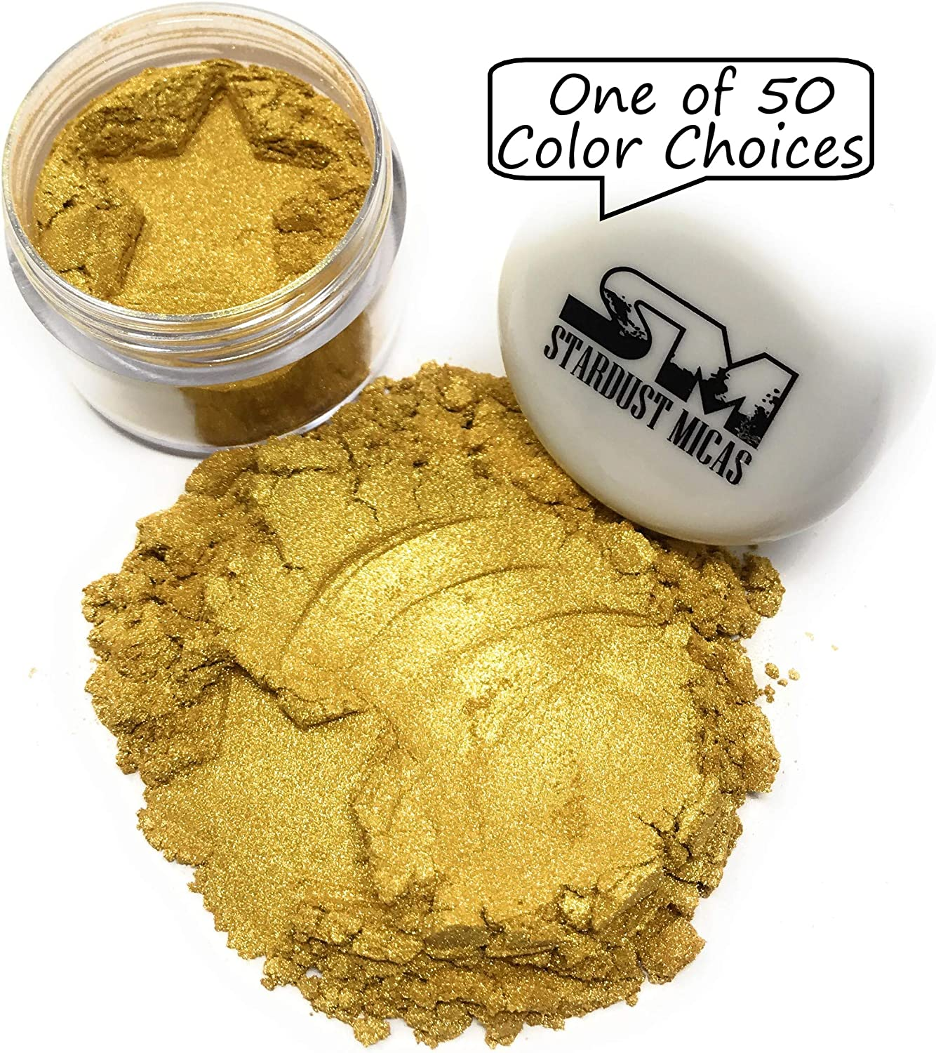 Stardust Micas Pigment Powder Cosmetic Grade Colorant for Makeup, Soap Making, Epoxy Resin, DIY Crafting Projects, Bright True Colors Stable Mica Batch Consistency Queens Gold