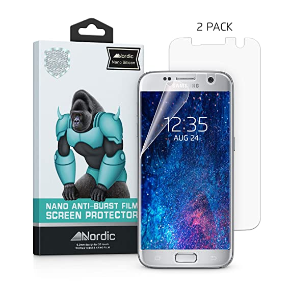 best website d6bbb 3646f 2 Pack Samsung Galaxy S7 Transparent Silicon Screen Protector [Case  Friendly] Bubble-Free and Fully Compatible With S7. By Nordic
