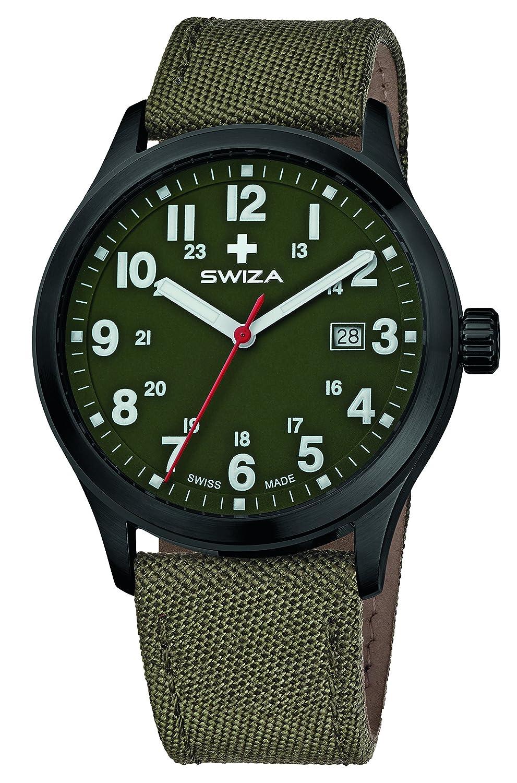 SWIZA Kretos Gent Quarzlaufwerk - Edelstahl-GehÄuse - 24h-Anzeige - Stoffarmband - Oliv Luxus Uhr Made in Swiss