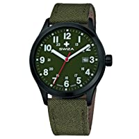 Kretos Gent quartz movement, stainless steel case, 24 hour display, fabric strap, olive luxury watch made in Swiss