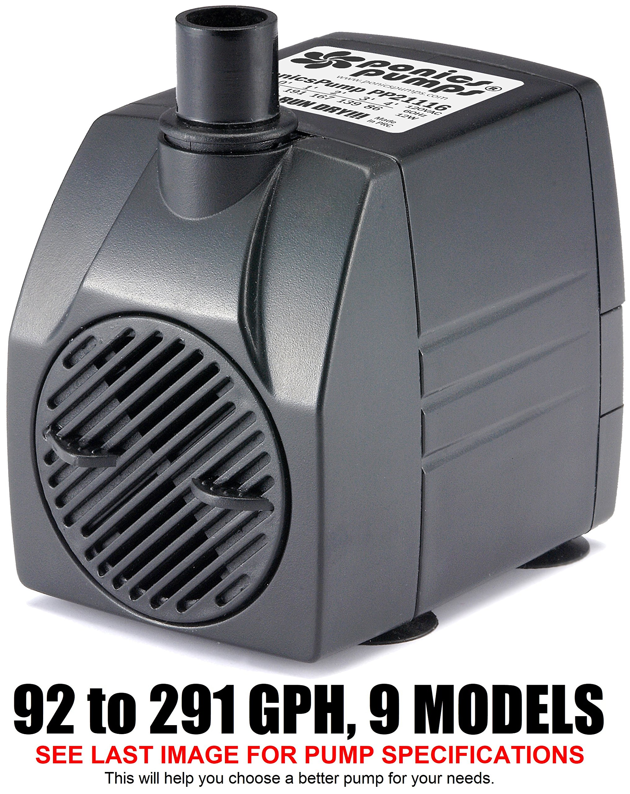 PonicsPump PP21116: 211 GPH Submersible Pump with 16' Cord - 16W… for Hydroponics, Aquaponics, Fountains, Ponds, Statuary, Aquariums & More. Comes with 1 Year Limited Warranty.
