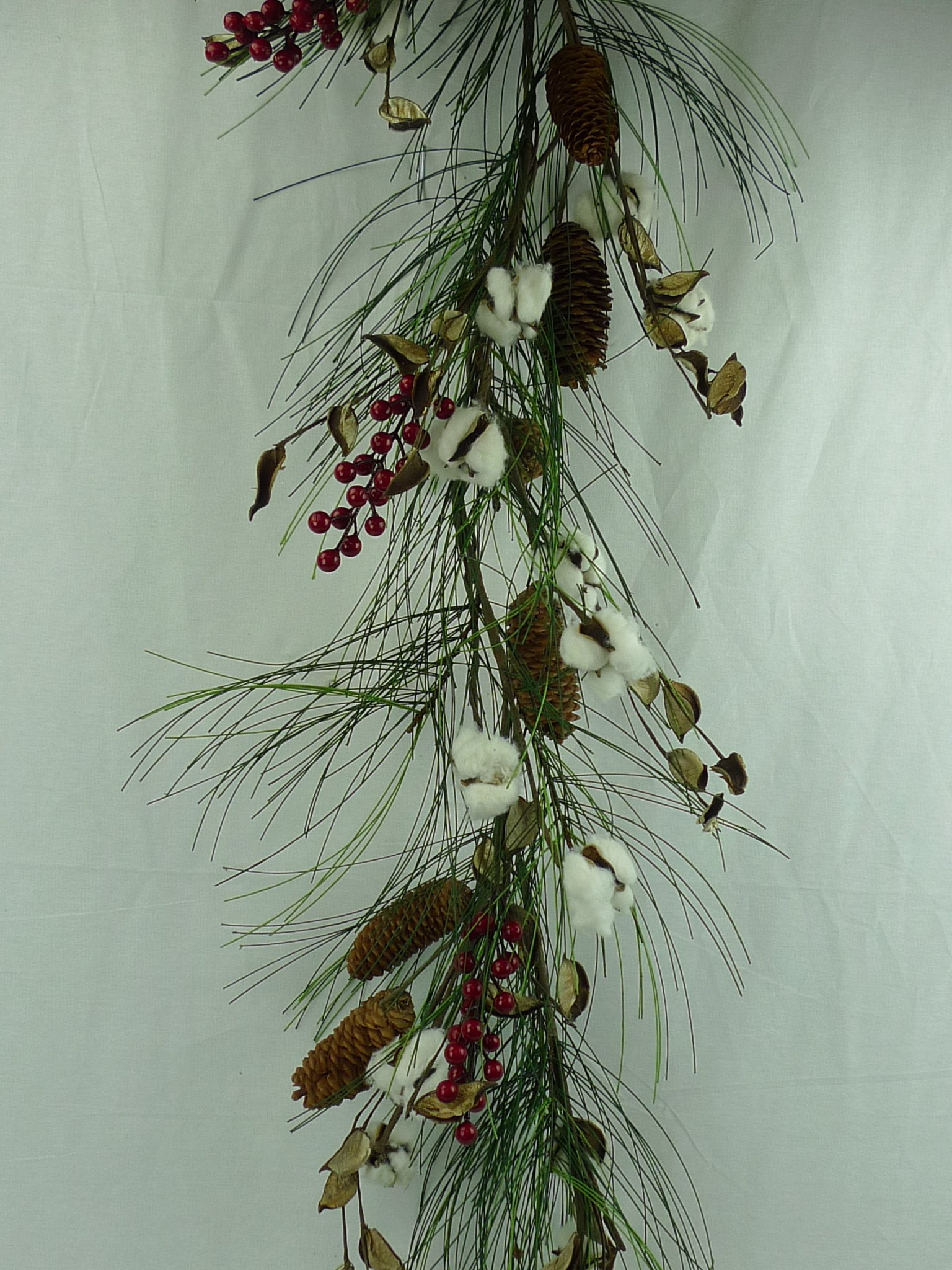 Christmas Pine, Cotton Ball, Red Berry & Pinecone WREATH, GARLAND, or TEARDROP (60'' Garland)