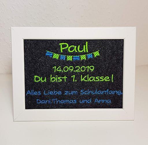 Geschenk Einschulung 1 Klasse Erster Schultag Mit Name Personalisiert Bilderrahmen 16x21 Cm Inkl