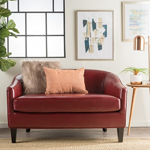 Isolde Modern Petite Loveseat (Fabric or Leather) (Red Leather)