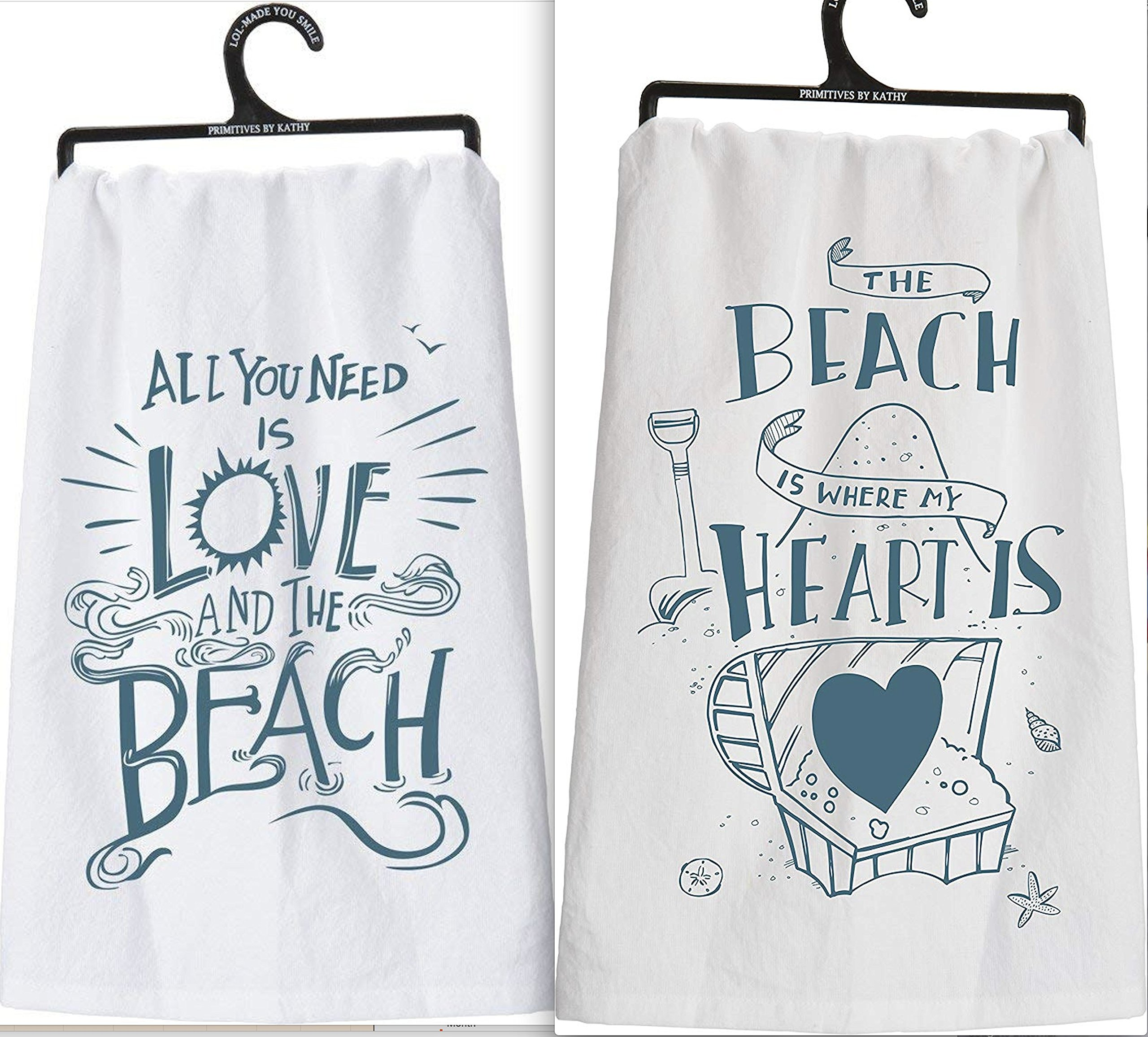Primitives By Kathy Set 2 White Beach Themed Kitchen Dish Towels ~All You Need Is Love and The Beach - The Beach is Where My Heart Is