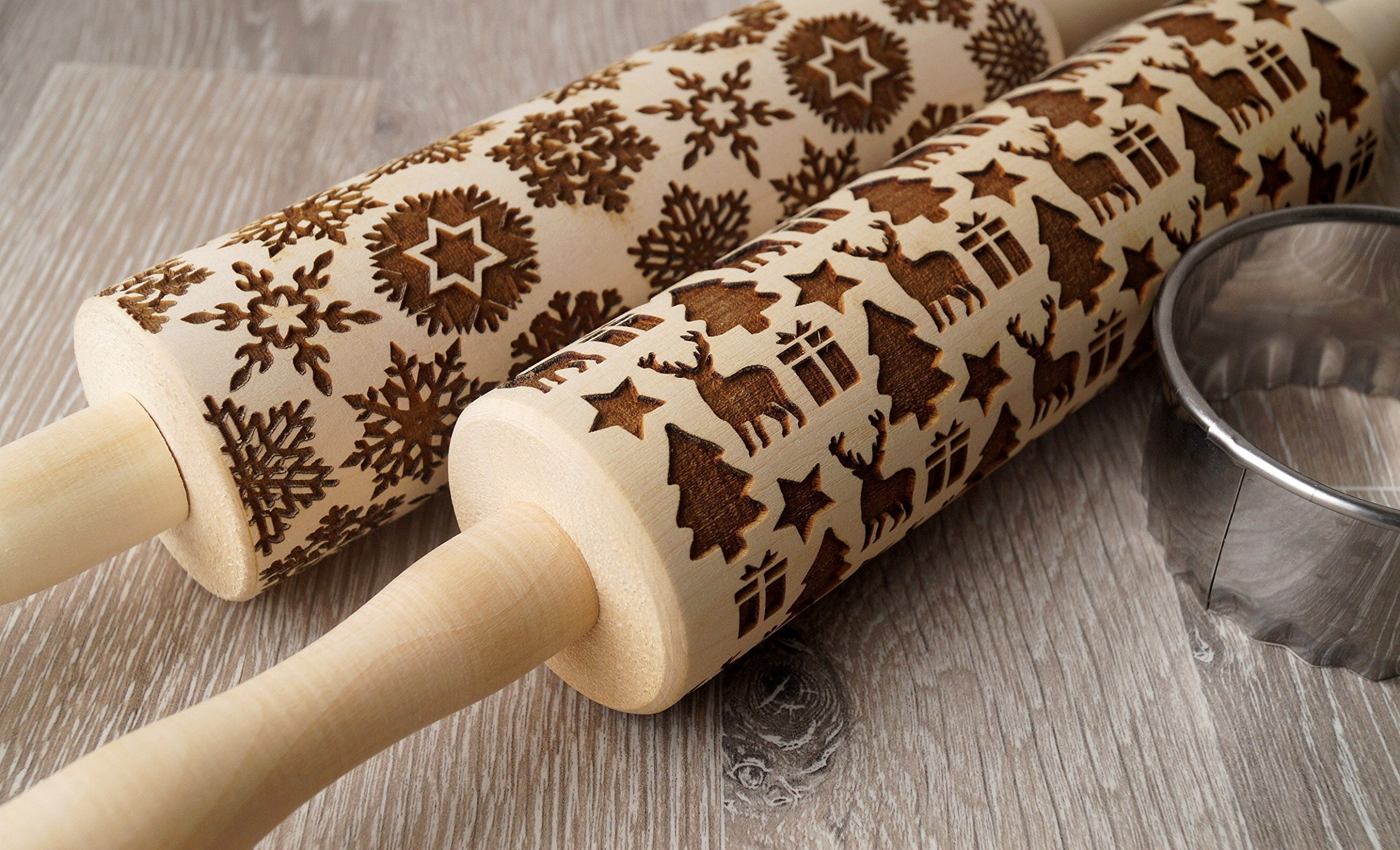 Christmas and Snowflakes rolling pins, embossing rolling pins, Christmas themed embossing rollers, cookies decorating rolling pins, Christmas icons rollers - Set of 2