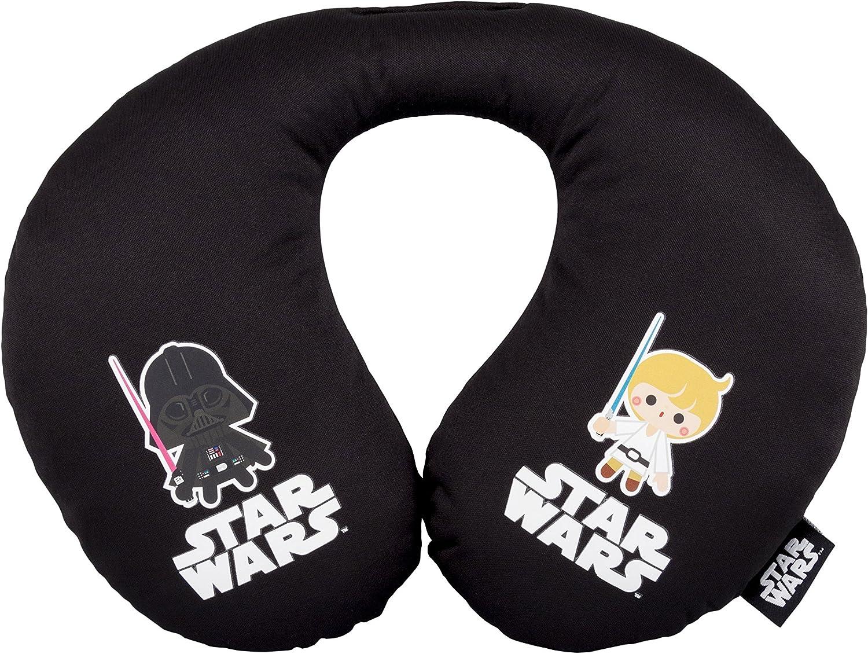 Cojin para coche para niños - en forma de U - Star Wars Saga - Darth Vader - Luke Skywalker – Negro