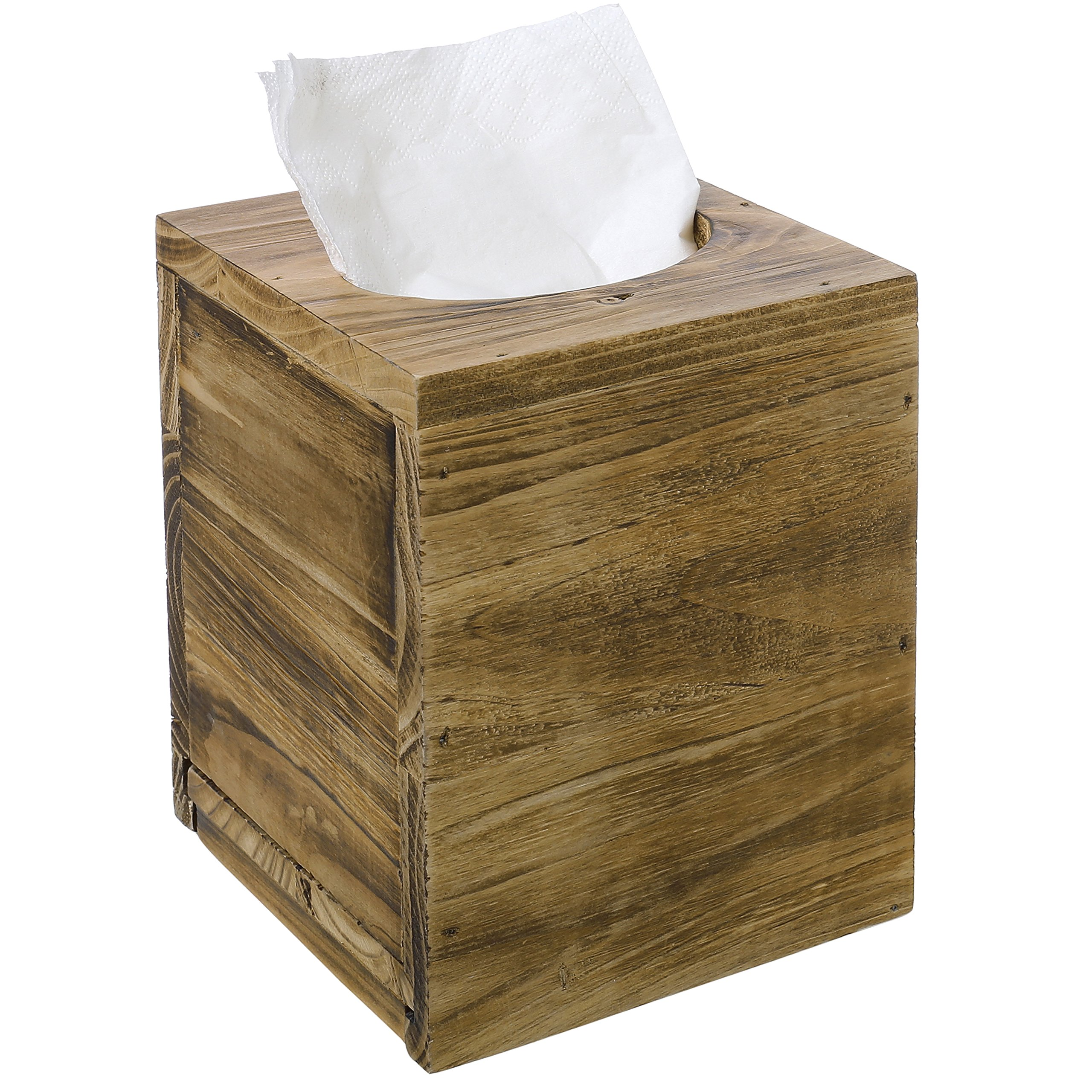 Distressed Honey Brown Square Tissue Box Cover with Slide-Out Bottom Panel