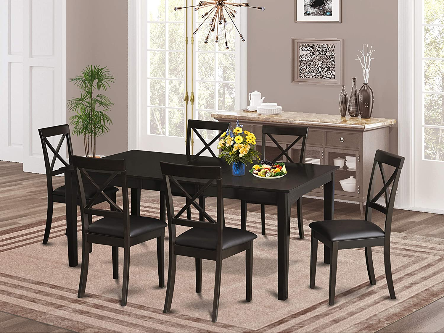 East West Furniture HEBO7-CaP-LC 7-Piece Dining Room Set Included a Self-Storing Butterfly Leaf Wooden Dining Room Table and 6 Dining Room Chairs - Faux Leather Dining Chair Seat & X-Back - Cappuccino Finish