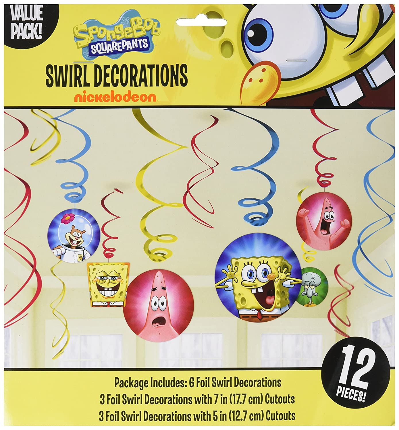 Amazon.com: Amscan Silly Sponge Bob Party Foil Swirl Decorations ...