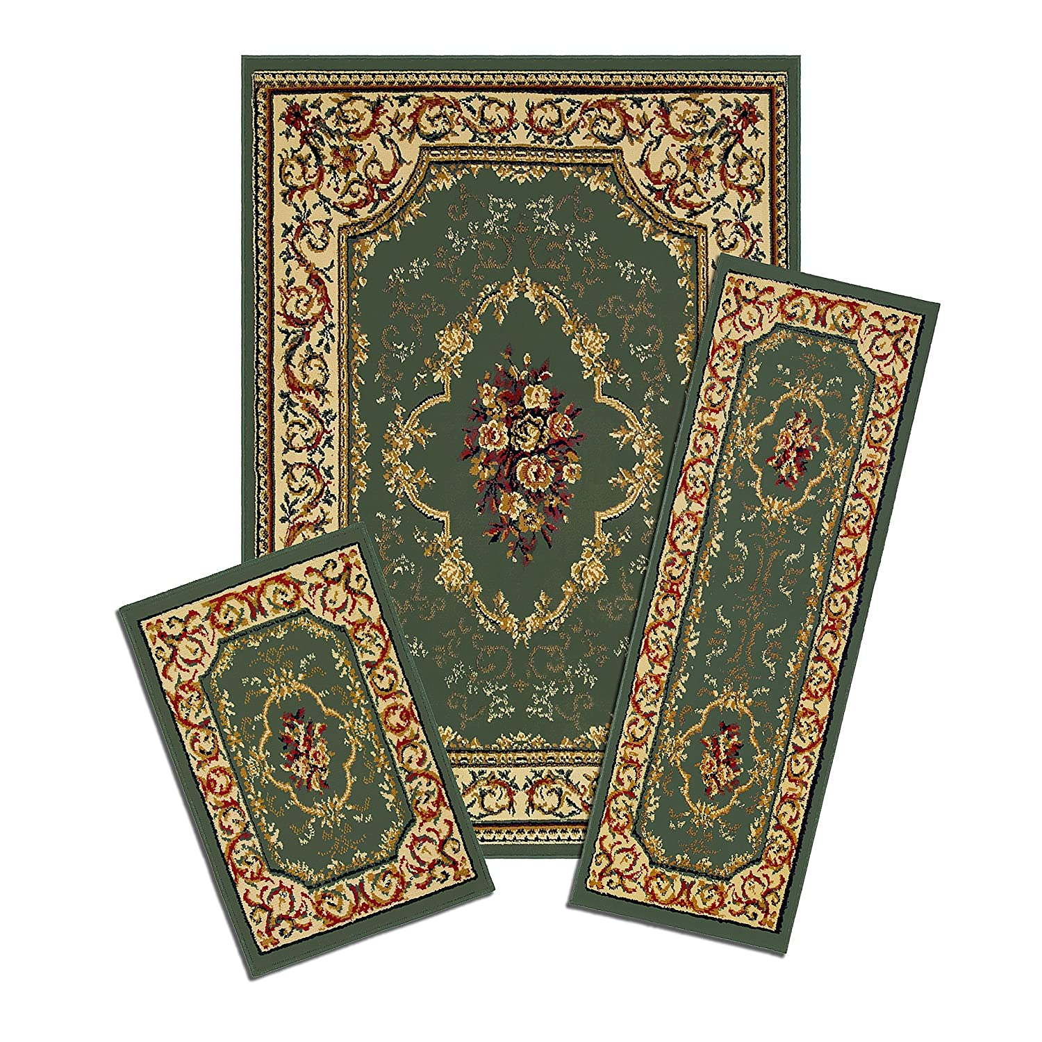 Achim Home Furnishings Capri Rug Set, 3-Piece, Rose Garden Achim Imports XX40/372-G