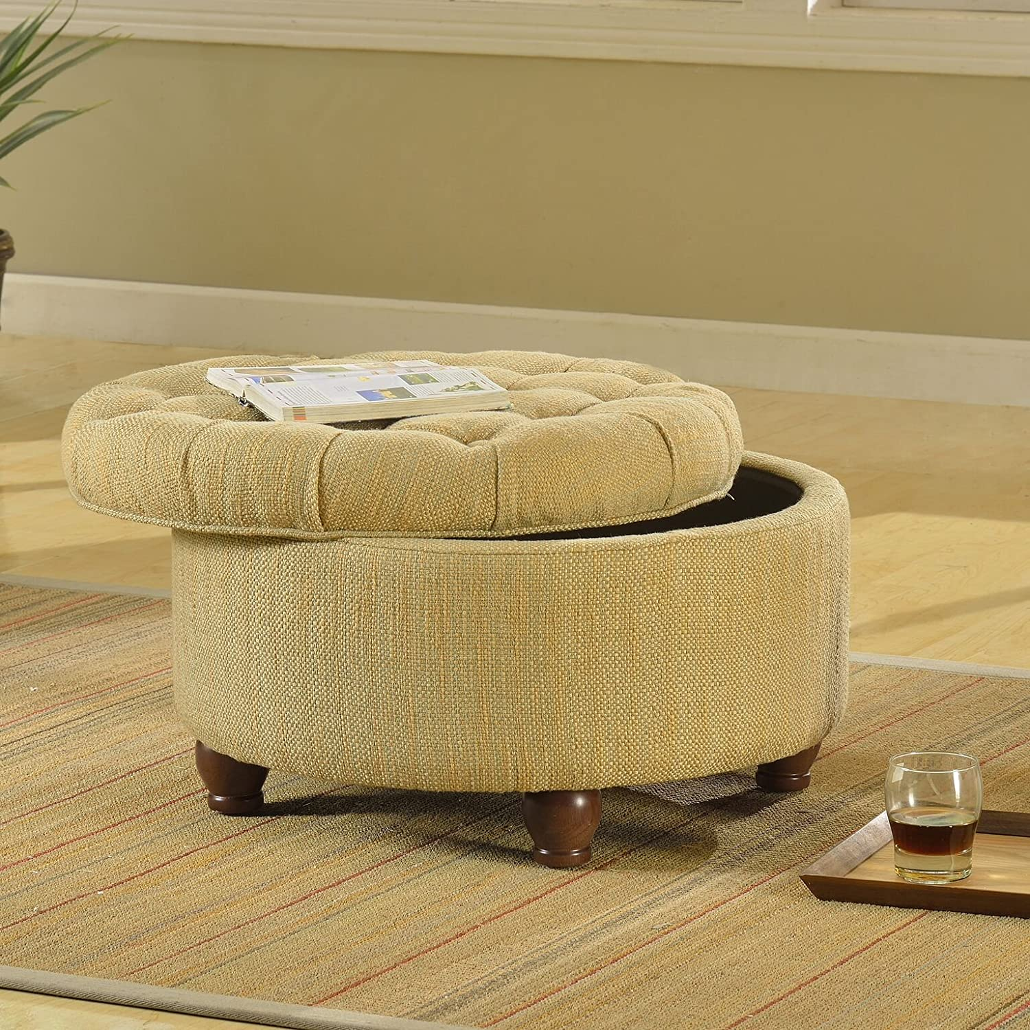Kinfine N8264-F1077 Ottoman Round Tufted Tweed Storage Tan and Cream
