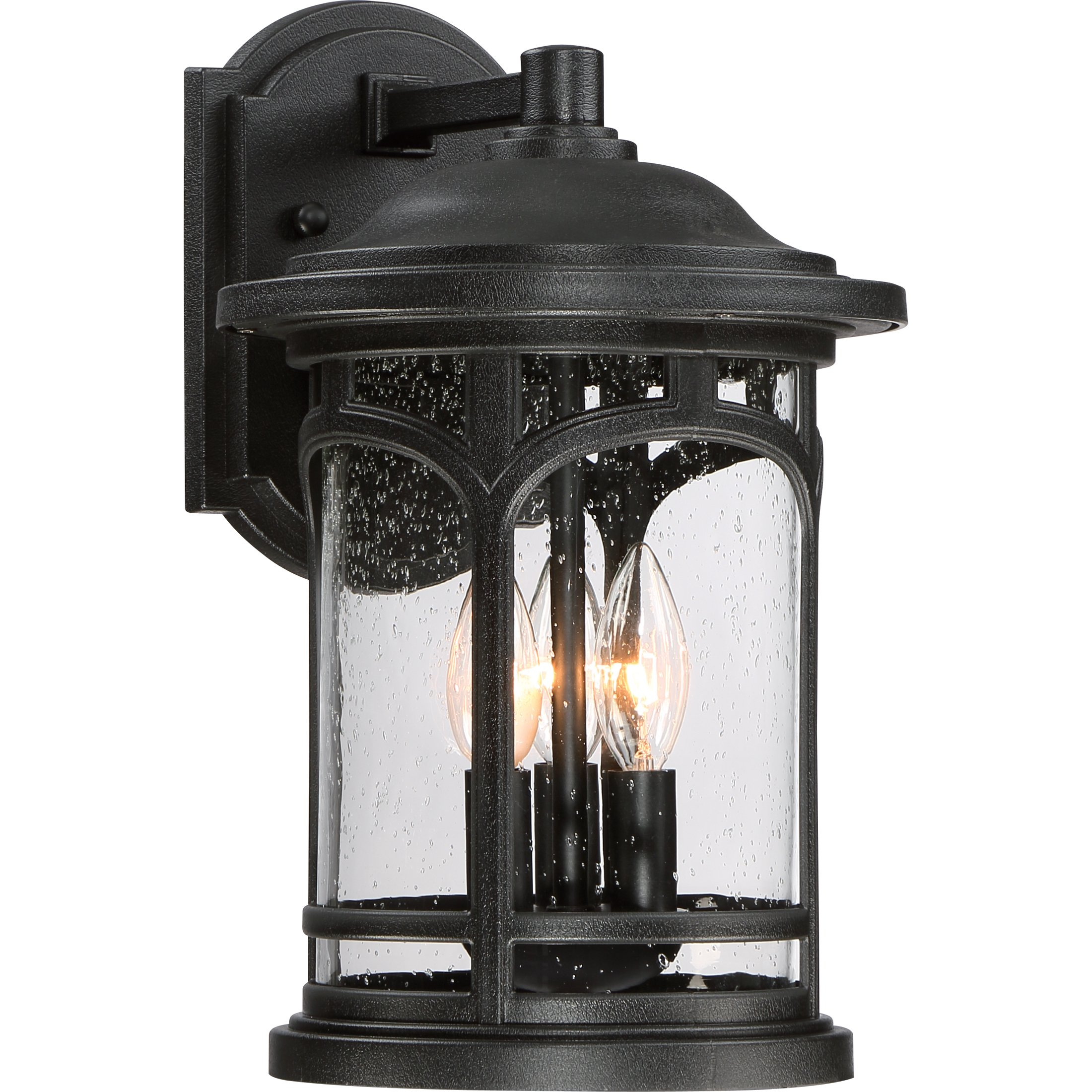 MBH8409K Three Light Wall Marblehead Outdoor Lantern in Mystic Black by Quoizel