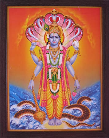 Handicraft Store Supreme Lord Vishnu in sea with his Weapon and Conch Shell, A Poster Painting with framing, Must for Hindu Religious and Worship Purpose