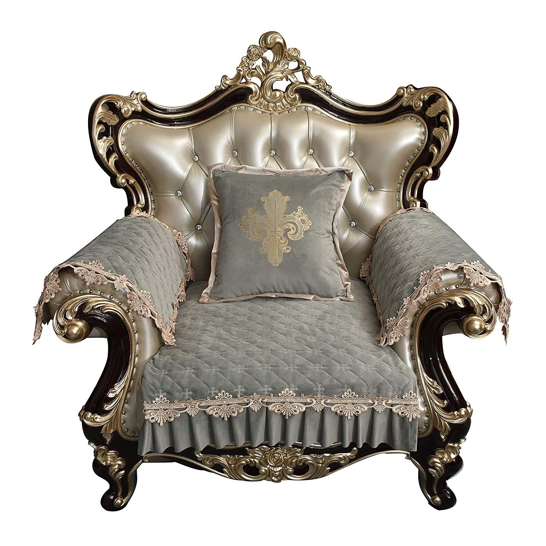 Blight bluee Chair-sofa cover Sideli Luxury Chenille Jacquard Sofa Slipcover Anti-Slip Sectional Furniture Predector Petproof(35 x82 -Oversized Sofa, Beige)