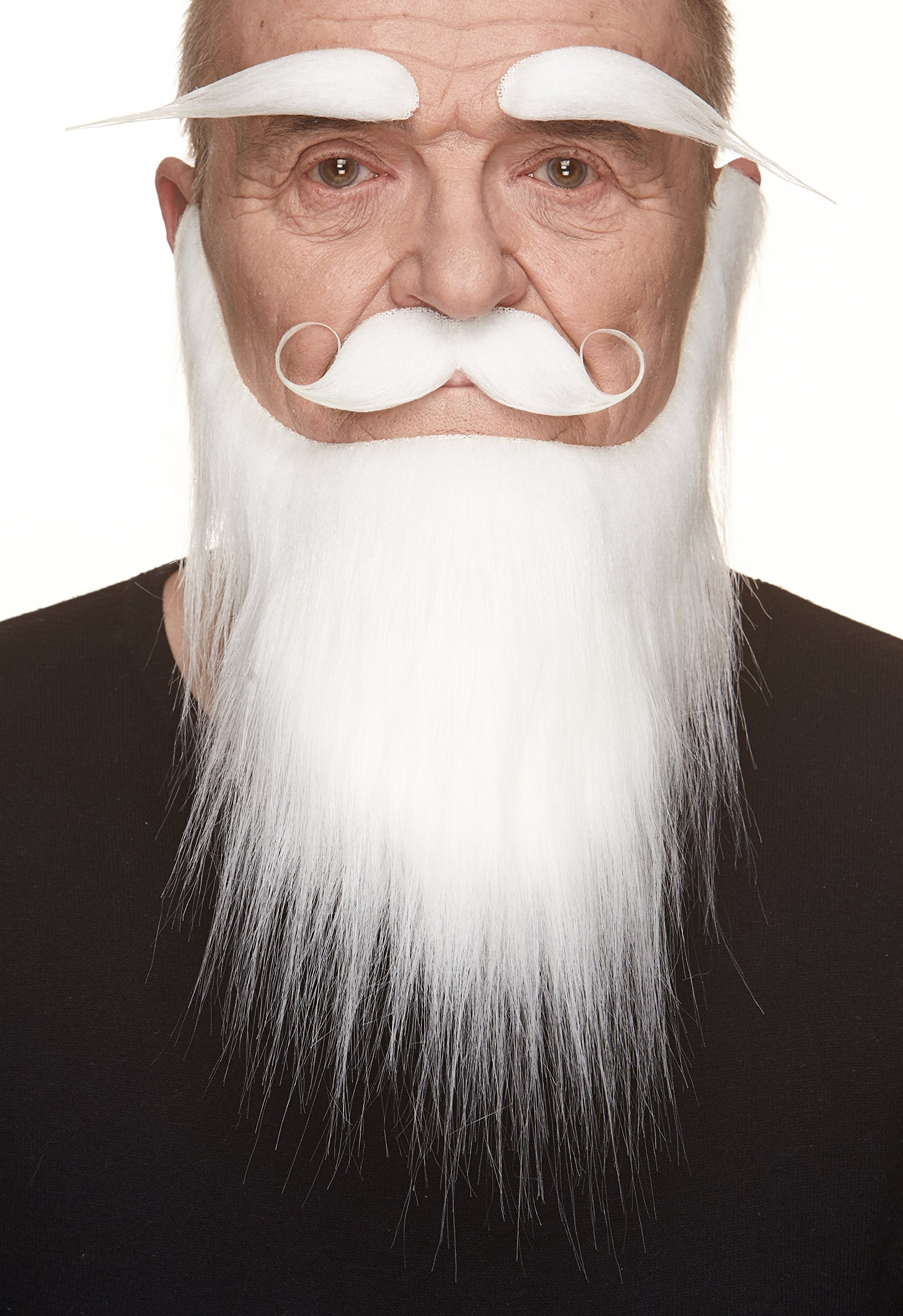 Mustaches Self Adhesive, Novelty, Fake Medieval King Beard, and Eyebrows, White Color