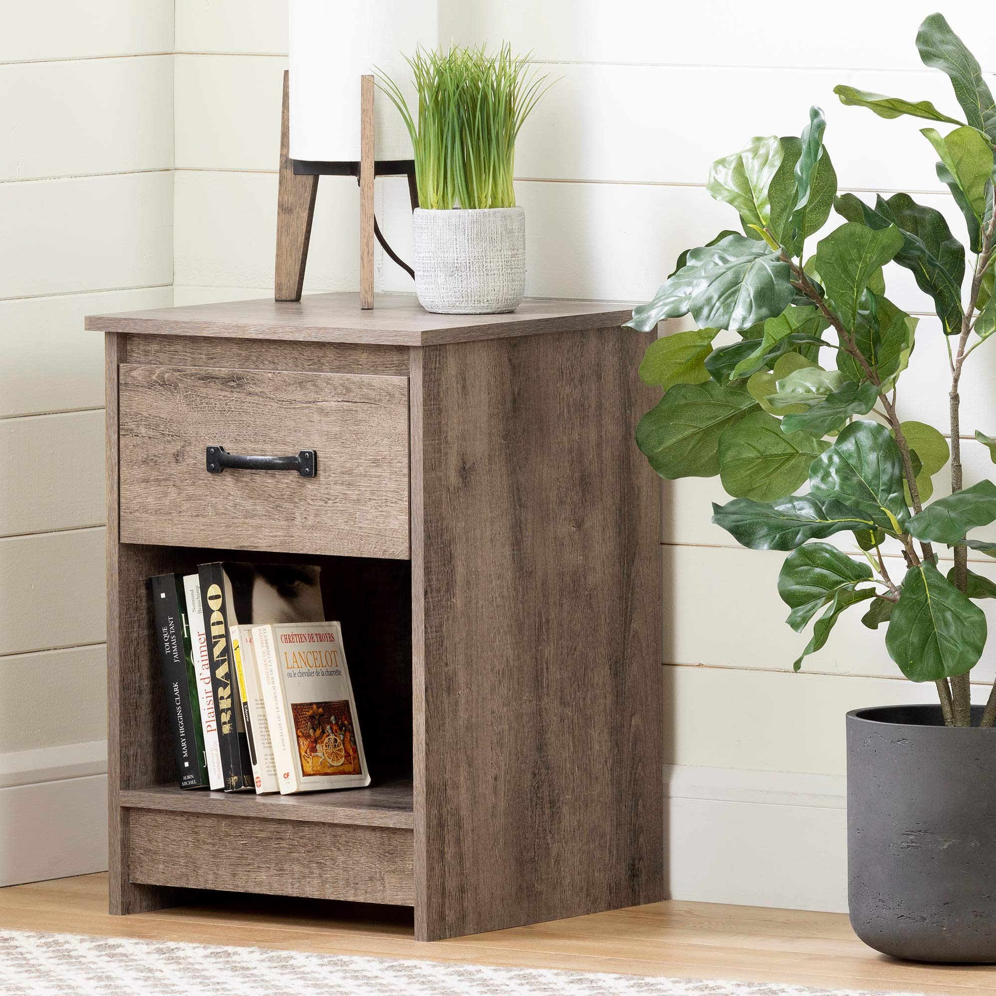 South Shore Tassio 1-Drawer Nightstand-Weathered Oak by South Shore