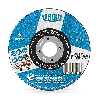 Tyrolit 222998 Basic 2In1 Discos De Corte, 41, A30Q-Bfb, 125 X 2.5 X 22.23 Mm Dimensiones, Caja De 25: Amazon.es: Industria, empresas y ciencia