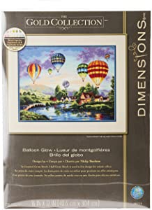 Dimensions Gold Collection Counted Cross Stitch Kit, Hot Air Balloon Glow, 18 Count Ivory Aida, 12'' x 16''