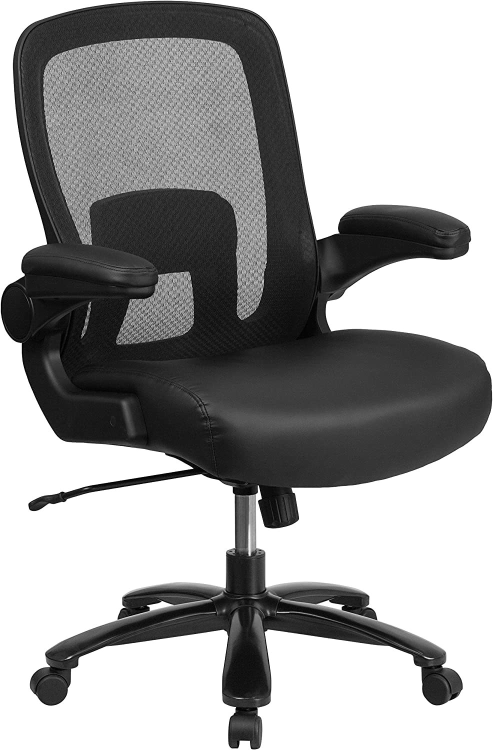 Flash Furniture HERCULES Series Big & Tall 500 lb. Rated Black Mesh/Leather Executive Ergonomic Office Chair with Adjustable Lumbar
