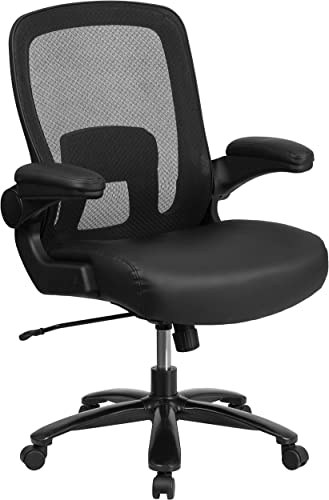 Flash Furniture HERCULES Series Big Tall 500 lb. Rated Black Mesh Leather Executive Ergonomic Office Chair with Adjustable Lumbar