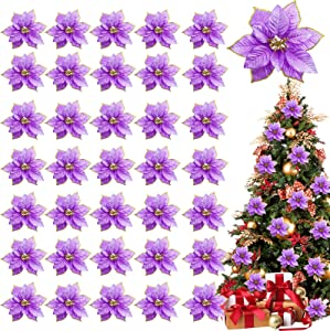 TURNMEON 36 Pack Christmas Gold Silver Glitter Poinsettia Artificial Silk Flowers Picks Christmas Tree Ornaments 4 Inch Wide for Gold Christmas Tree Wreaths Garland Holiday Decoration (Purple)