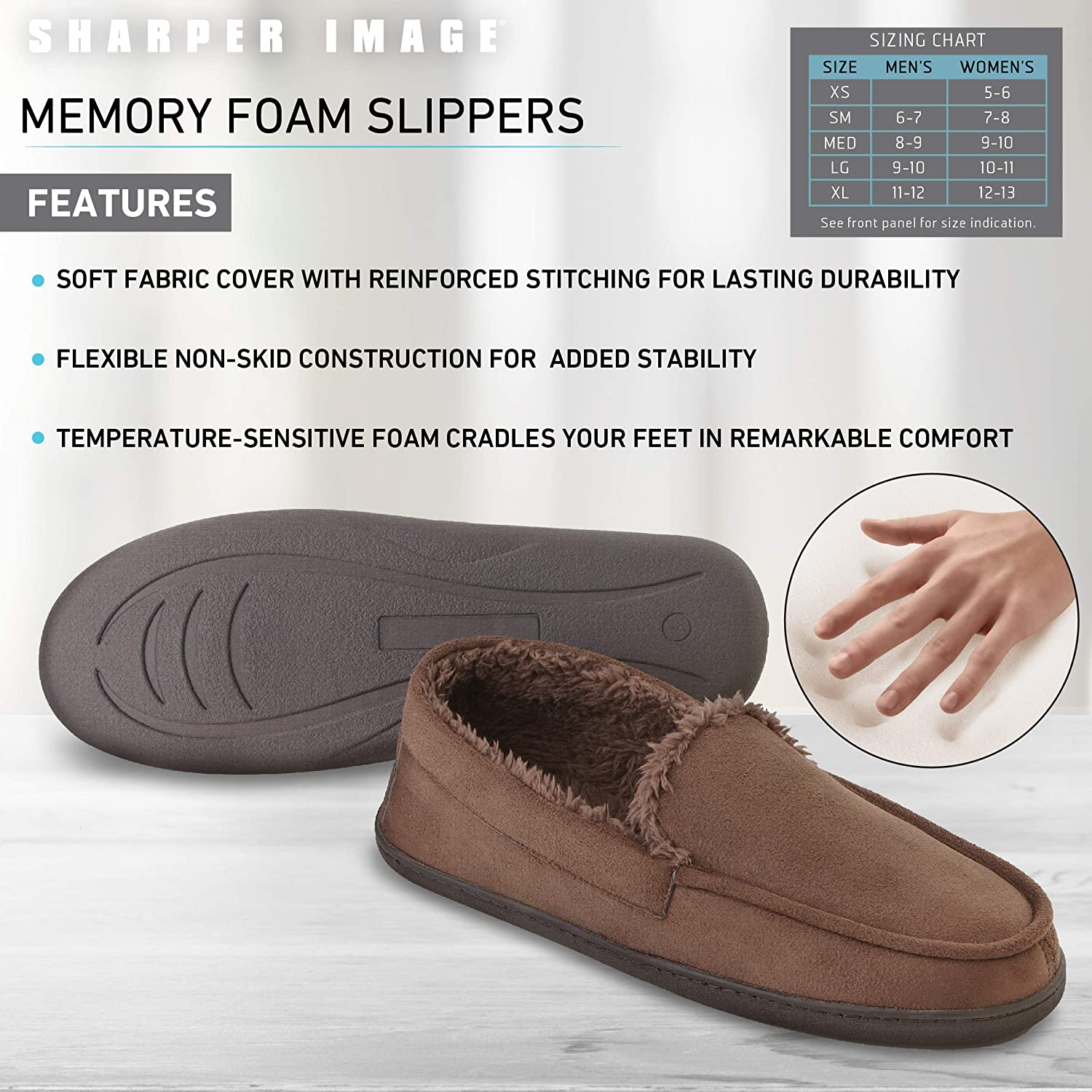 Unisex Style for Women and Men SHARPER IMAGE Comfort Memory Foam Moccasin Slippers with Faux Micro Suede and Faux Fur Sherpa Lining