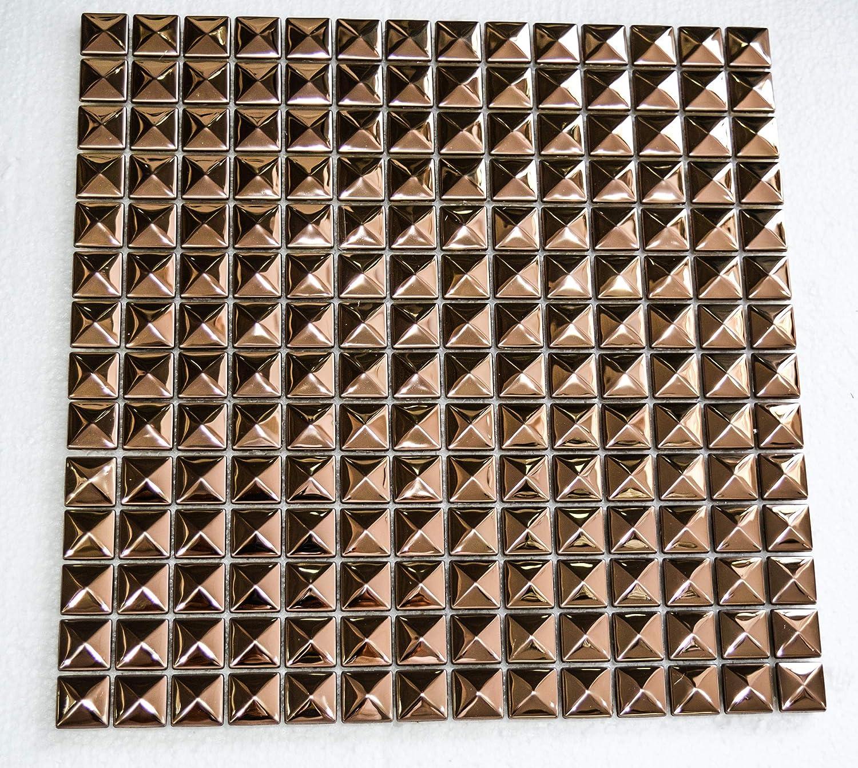 Carreaux en m/étal pyramide dor/é rose Rose Gold HEX-03 Kingston Mosa/ïques et carreaux