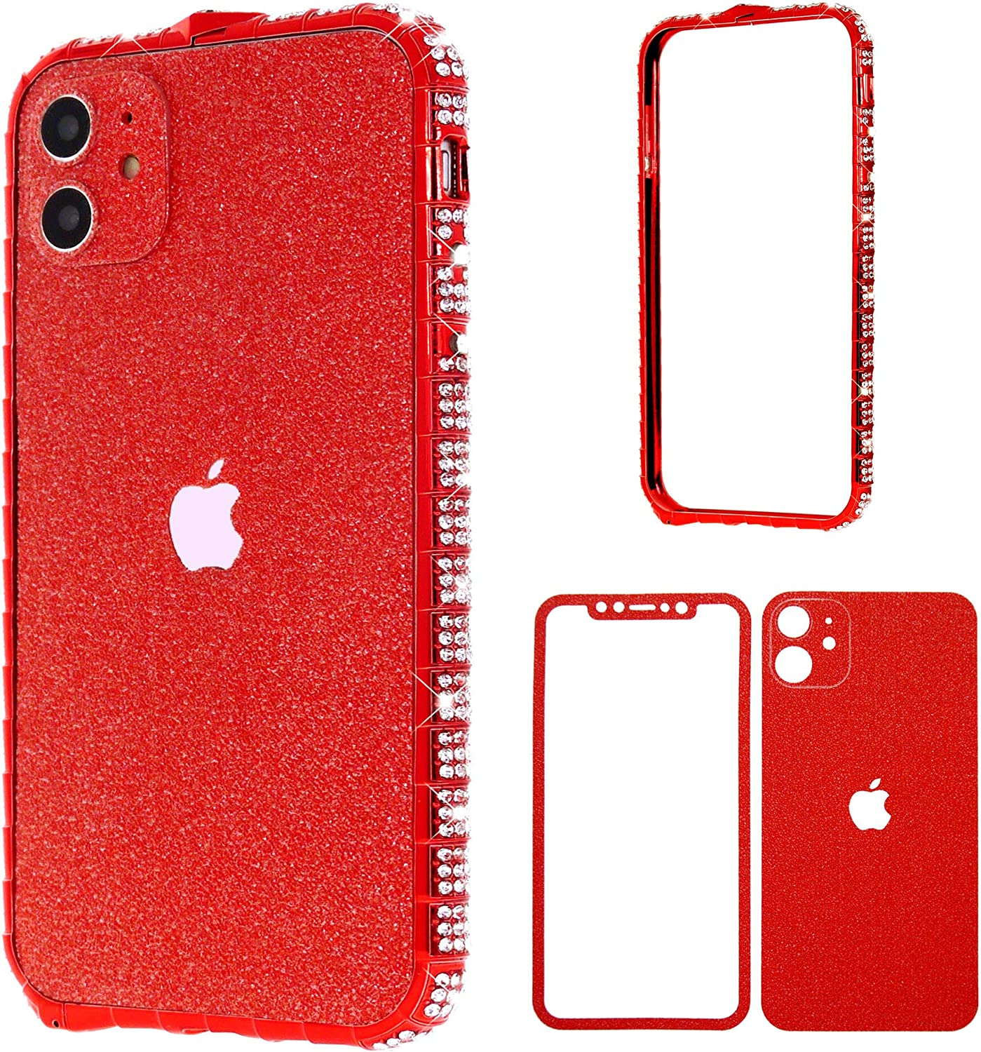 iPhone 11 Pro Max Diamond Bumper for Women, DMaos Sparkly Rhinestone Metal Bumper with Front and Back Glitter Sticker, Luxury for iPhone11 Pro Max 6.5 inch 2019 - Red