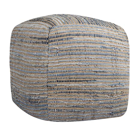 Awesome Ottoman Pouf Cube Cover Recycled Cotton Denim Chindi Woven Footrest Stool Indian Traditional Style Countryside Pouffe Cover Blue D 16 X H 16 Gmtry Best Dining Table And Chair Ideas Images Gmtryco