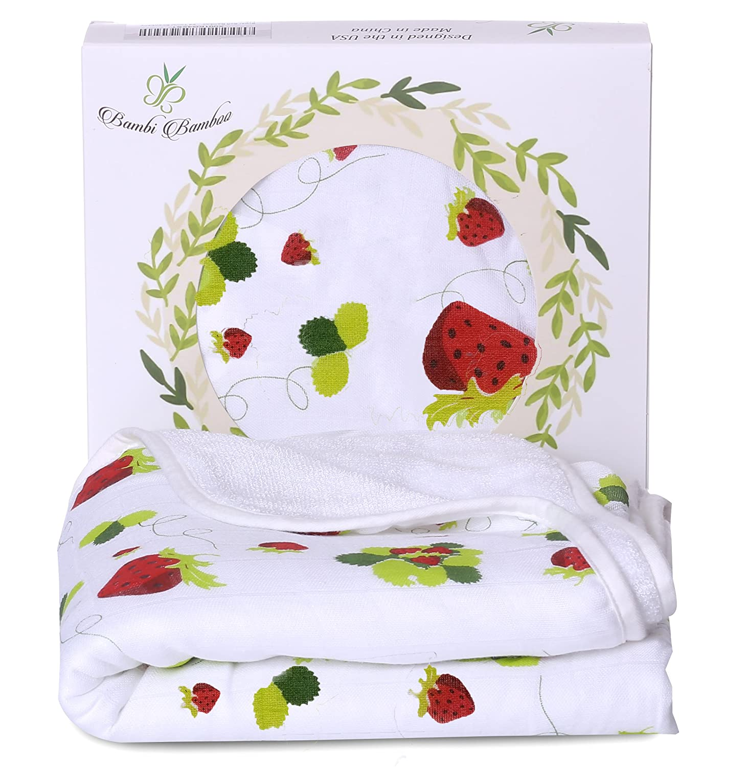 Bambi Bamboo Baby Hooded Towel for Sensitive Skin | Super Soft, Absorbent and Hypoallergenic | Strawberry, 2 Layers Reversible| Sized for Infant and Toddler