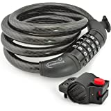 Lumintrail Bike Cable Lock, Self Coiling 4 Foot 12mm Braided Steel Cable Resettable Combination Cable Lock with Included Mounting Bracket (1 or 2 pack)