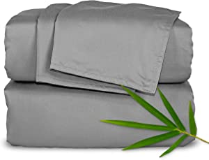 "Pure Bamboo Sheets King Size Bed Sheets 4 Piece Set, 100% Organic Bamboo, Luxuriously Soft & Cooling, Double Stitching, 16"" Deep Pockets, 1 Fitted, 1 Flat, 2 Pillowcases (King, Stone Grey)"