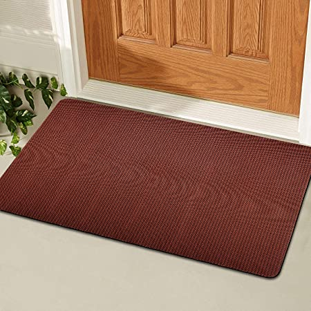 Beige Delxo 18x30 Magic Doormat Absorbs Mud Doormat No Odor Durable Anti-Slip Rubber Back Low-Profile Entrance Door Mat Large Cotton Shoe Scraper Pet Mat Machine Washable