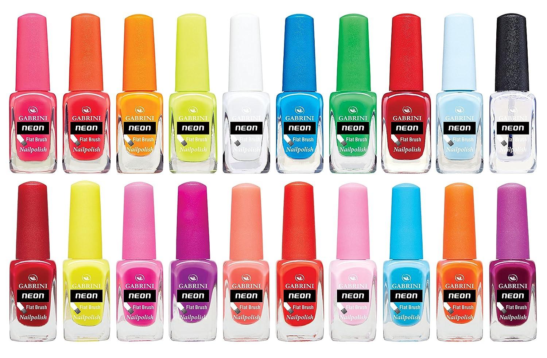 Amazon.com: Gabrini - Neon Nail Polish 20 Color Set - 13ml / 0.44 ...