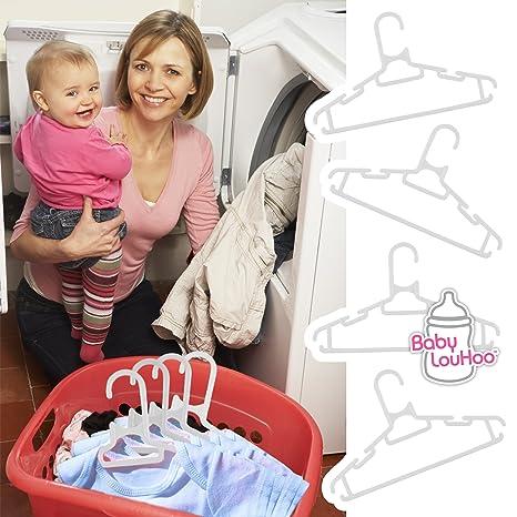 Amazon.com: Perchas de ropa - Bebé Estándar, infantil y del niño Tamaño - Vivero organizadores del armario - Múltiples muescas en cada percha Hacer un ...