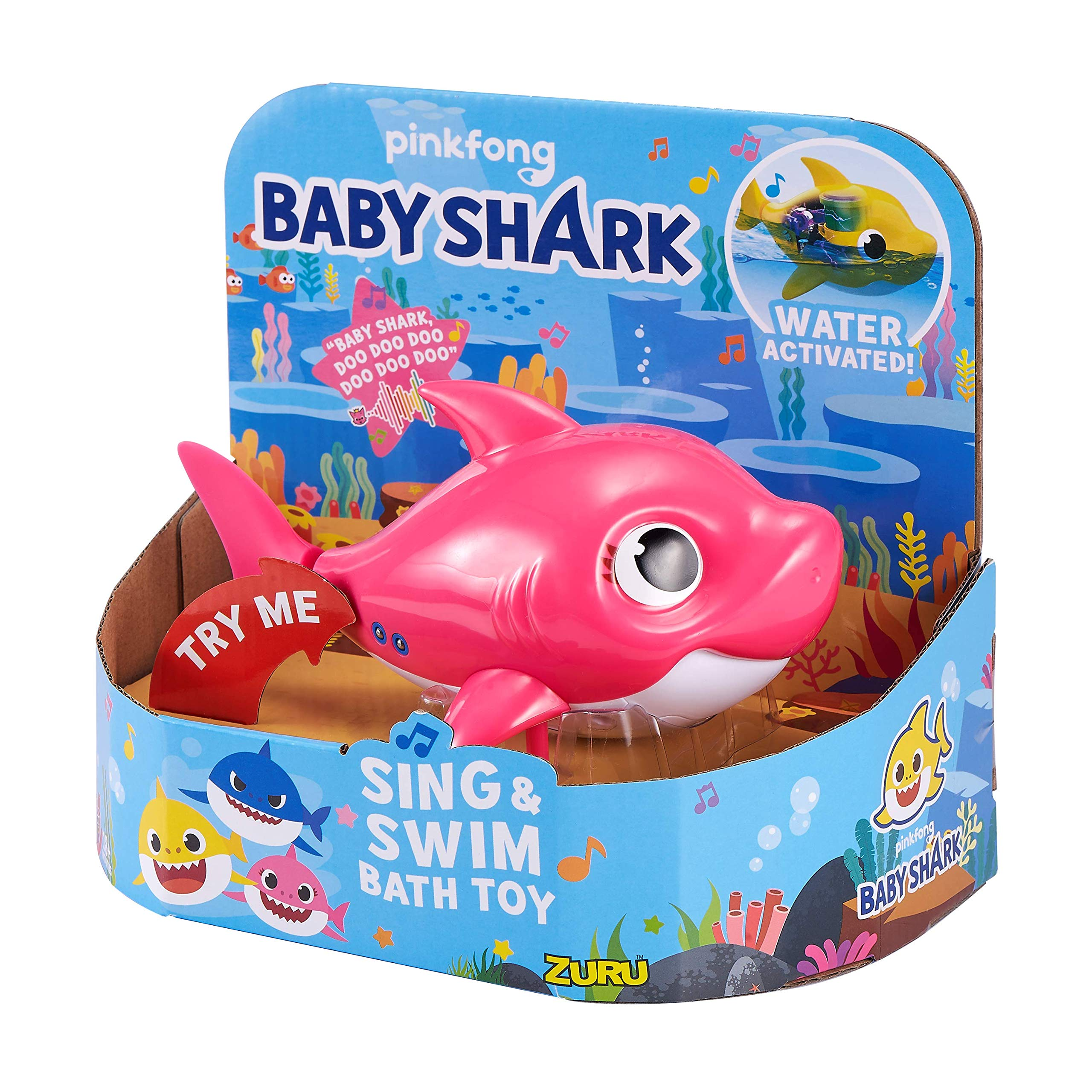 Robo Alive Junior Baby Shark Battery-Powered Sing and Swim Bath Toy by ZURU - Mommy Shark (Pink) by Robo Alive Junior (Image #2)