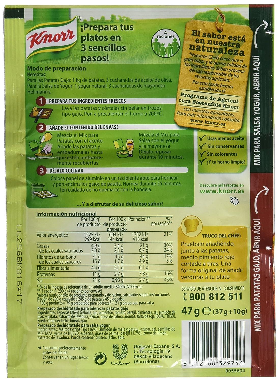 Knorr Patatas Gajo con Salsa Yogur - 47 gr: Amazon.es: Alimentación y bebidas