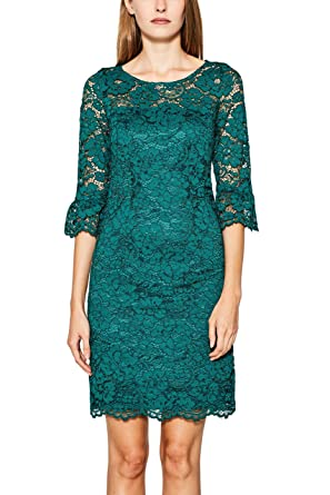 ESPRIT Collection Damen Kleid 097EO1E004, Grün (Dark Teal Green 375), 34