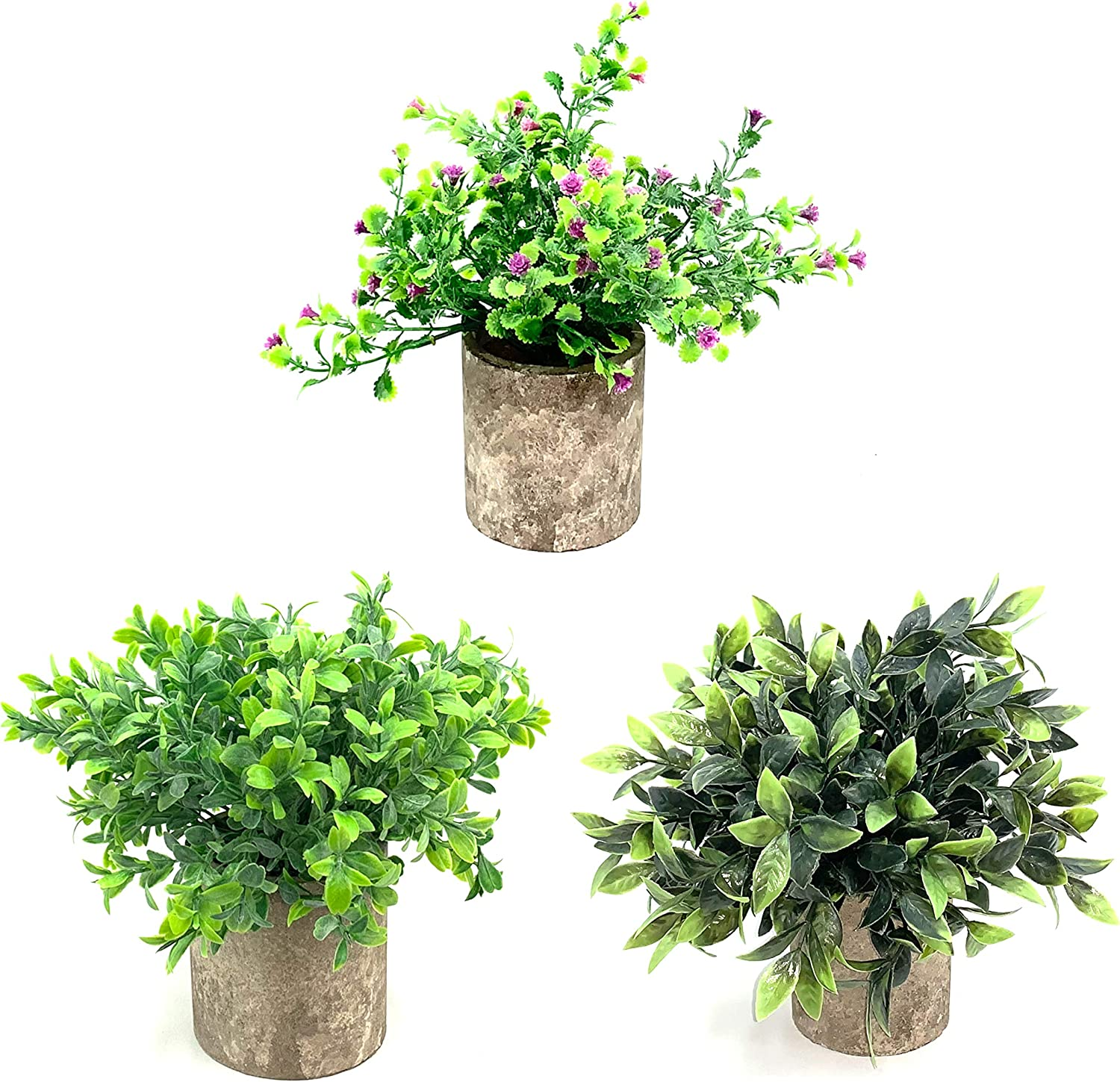 Faux Botany Realistic Mini Artificial Potted Plants, Luxury Home Decorations, Mini Fake Plants, Potted Plants Table Décor, Office Greenery, Bathroom Knick Knack's, Original - (Set of 3)