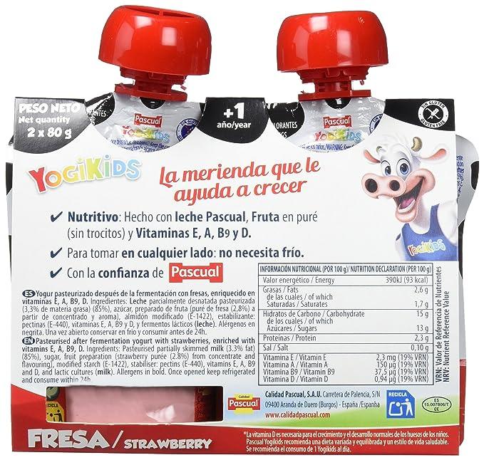 Yogur Pascual Yogikids De Fresa Para Llevar Duo 2X80G Caja De 9 Packs: Amazon.es: Alimentación y bebidas