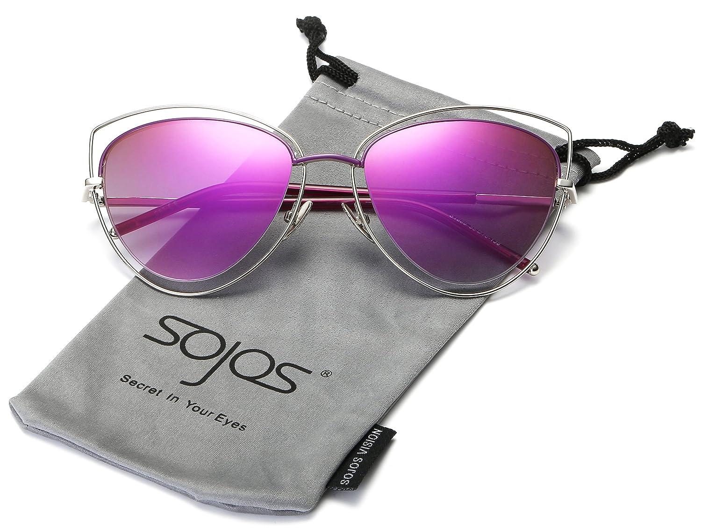 Chat Oeil Double Câbler Double Bordé UV400 Lunettes de soleil yeux de Sojos femmes de SJ1047 (C6 Cadre Or / Or Lentille, 58)