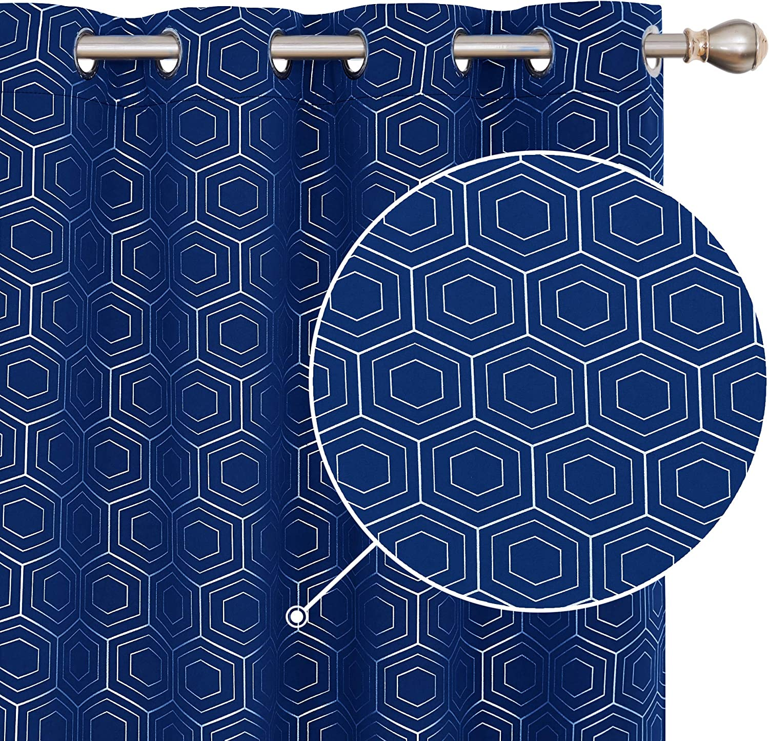 Deconovo Blackout Curtains Foil Printed Hexagon Geometric Curtains Thermal Insulated Eyelet Curtains for Baby Nursery with Two Matching Tie Backs W46 x L72 Inch Navy Blue One Pair