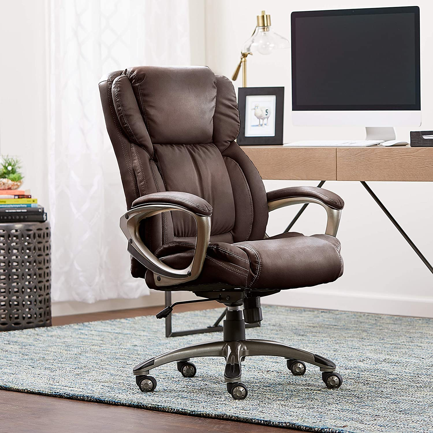 Serta Works Executive Office Chair, Bonded Leather, Brown