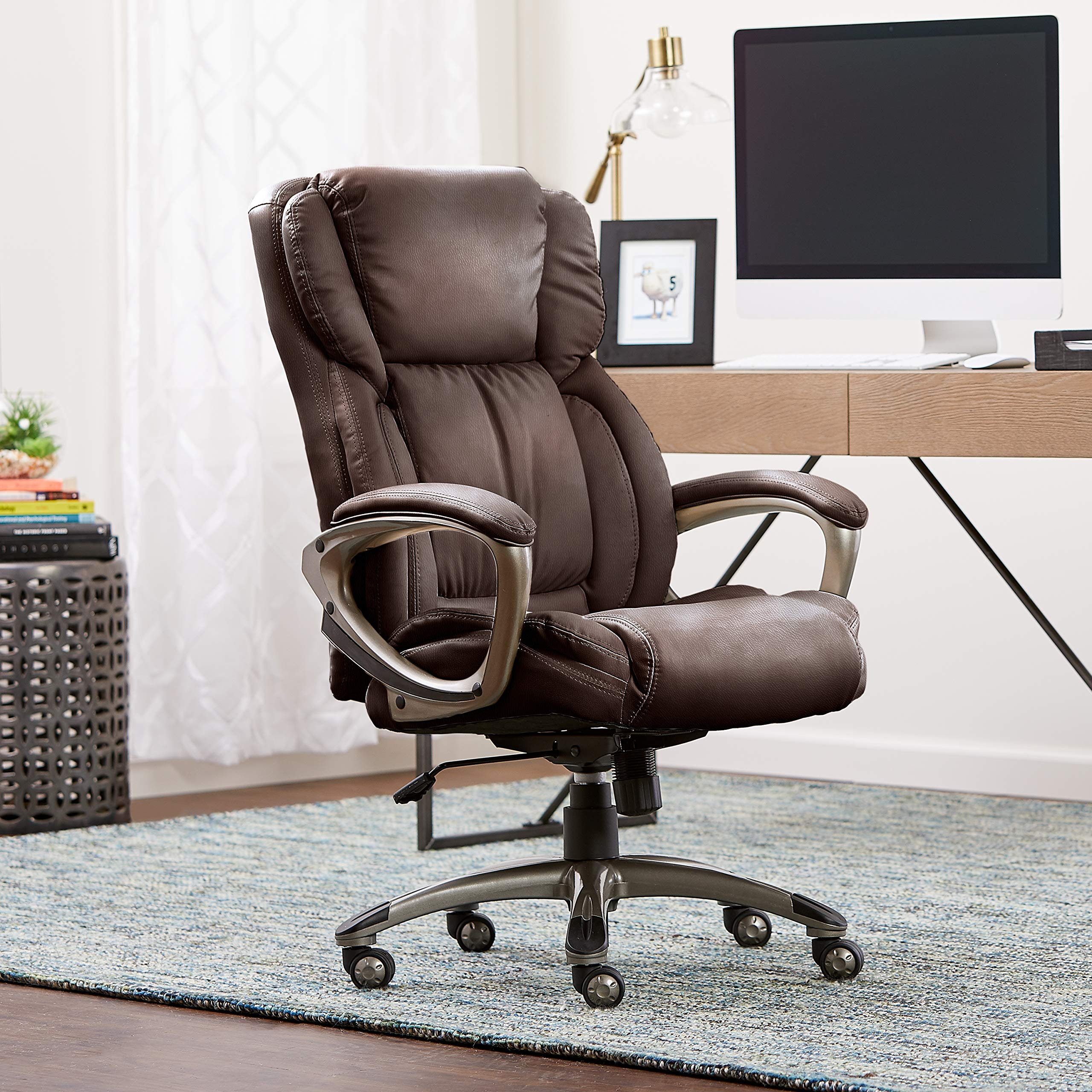 Serta Works Executive Office Chair, Bonded Leather, Brown by Serta