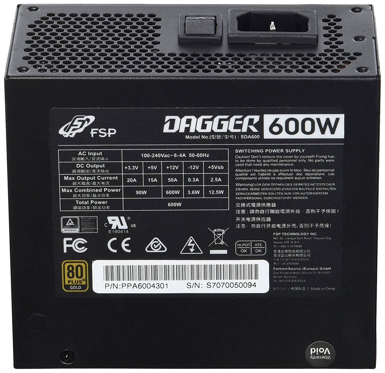 FSP 4711140480114 Alimentatore per PC da 600 Watt Nero