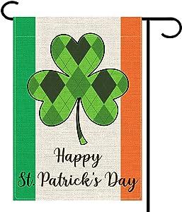 "KLL St Patricks Day Ireland Garden Flag Welcome Spring House Flag-Farmhouse Decor-Yard Decor-Outdoor Decor-Vertical Double Sided Irish Shamrock Buffalo Flag, Small(12.5X 18"")"